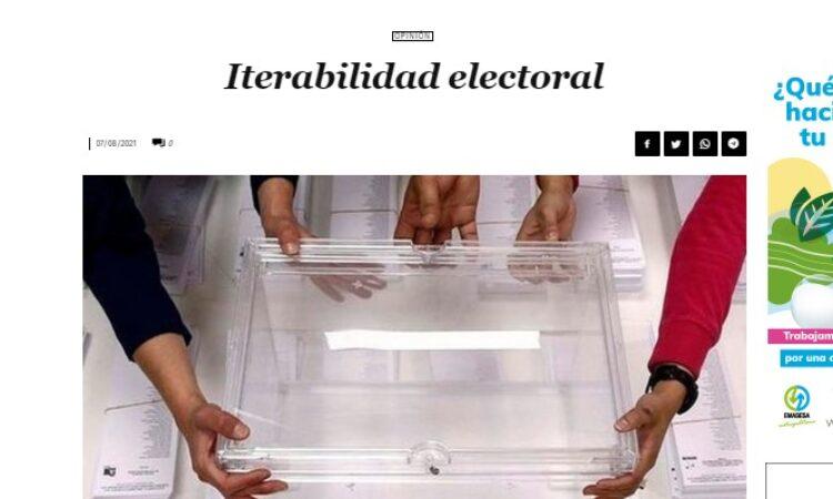 Artículo: «Iterabilidad electoral», por Francisco Tomás González Cabañas, publicado en Diario 16 el día 7 de agosto de 2021
