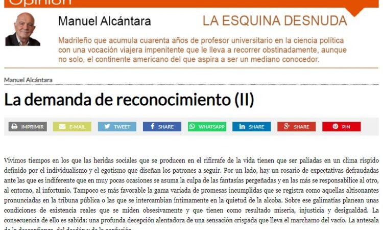 """Artículo: """"La demanda de reconocimiento (II)"""", por nuestro colegiado Manuel Alcántara, publicado en la Esquina Desnuda el día 11 de agosto de 2021"""