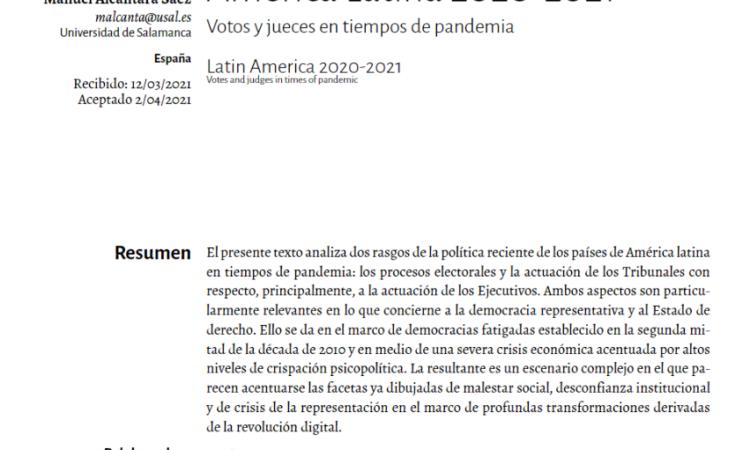 """Artículo: """"América Latina 2020-2021: Votos y jueces en tiempos de pandemia"""", por  Manuel Alcántara, publicado en la Revista Euro Latinoamericana de Análisis Social y Político"""