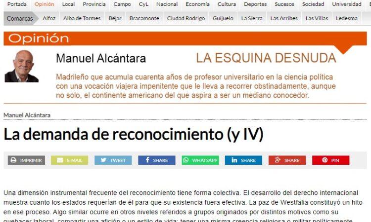 """Artículo: """"La demanda de reconocimiento (y IV)"""", por nuestro colegiado Manuel Alcántara, publicado en la Esquina Desnuda el día 25 de agosto de 2021"""