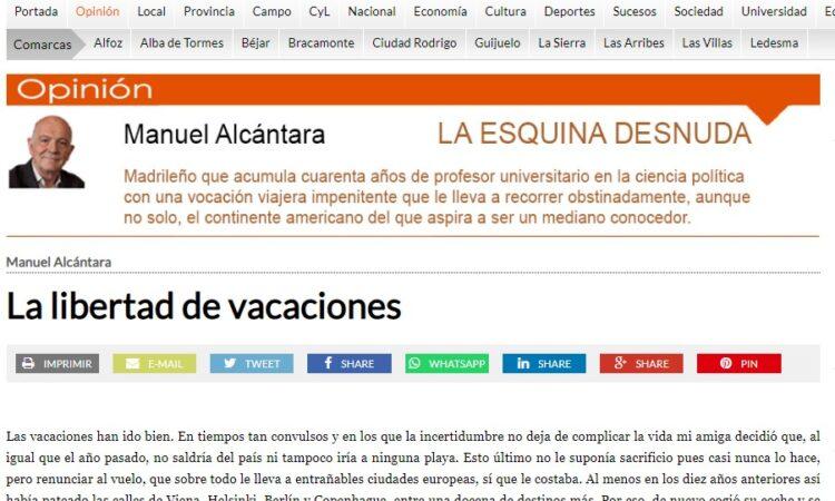 """Artículo: """"La libertad de vacaciones"""", por nuestro colegiado Manuel Alcántara, publicado en la Esquina Desnuda el día 1 de septiembre de 2021"""