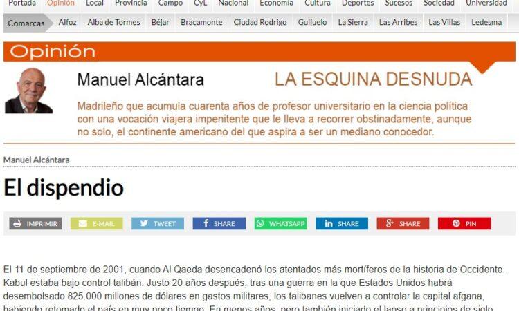 """Artículo: """"El dispendio"""", por nuestro colegiado Manuel Alcántara, publicado en la Esquina Desnuda el día 8 de septiembre de 2021"""