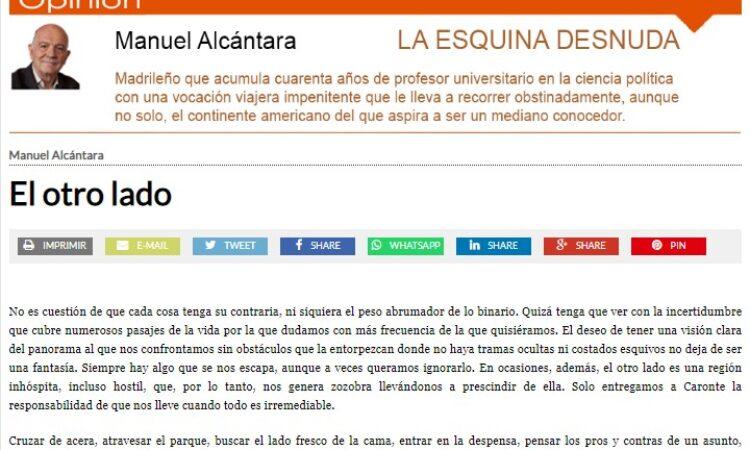 """Artículo: """"El otro lado"""", por nuestro colegiado Manuel Alcántara, publicado en la Esquina Desnuda el día 15 de septiembre de 2021"""