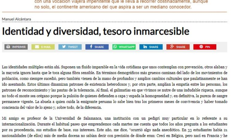"""Artículo: """"Identidad y diversidad, tesoro inmarcesible"""", por nuestro colegiado Manuel Alcántara, publicado en la Esquina Desnuda el día 13 de octubre de 2021"""