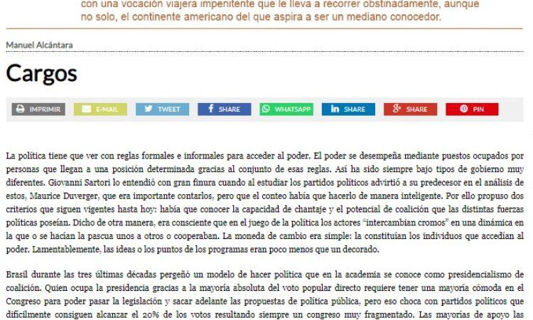 """Artículo: """"Cargos"""", por nuestro colegiado Manuel Alcántara, publicado en la Esquina Desnuda el día 20 de octubre de 2021"""
